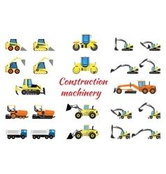 Set construction equipment vector
