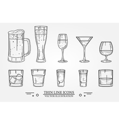 Set drink alcohol glass for beer whiskey wine vector image