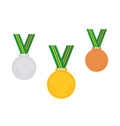 set of winner medals brazil vector image vector image