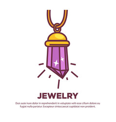 Shiny crystal in pendant vector