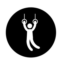 silhouette of athlete practicing gymnastics vector image