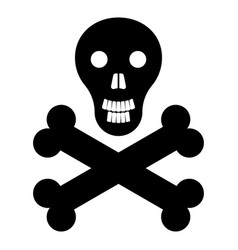skull and bones the black color icon vector image