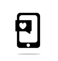 smartphone with heart chat icon flat style vector image vector image