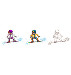 Snowboarder in three different drawing styles vector