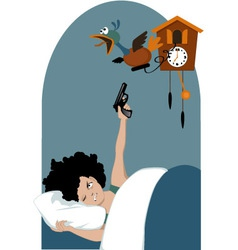 Tired woman and a cuckoo clock vector