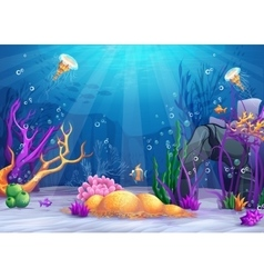 Underwater world cartoon vector image vector image