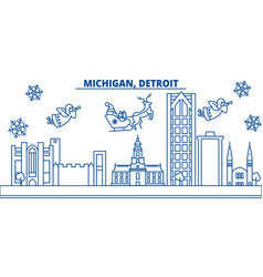 Usa michigan detroit winter city skyline merry vector