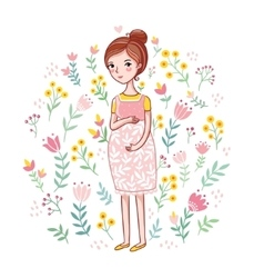 Girl stroking belly with a baby vector image
