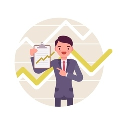 Businessman with clipboard Positive charts and vector image