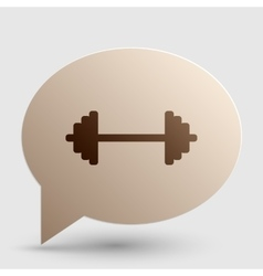 Dumbbell weights sign brown gradient icon on vector
