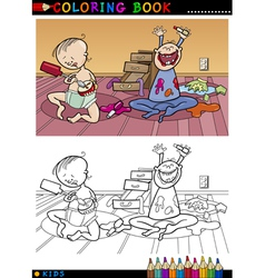 Cartoon cute babies for coloring vector