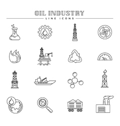 Oil industry and energy line icons set vector image