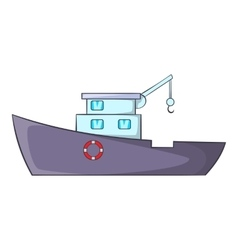 Ship for catching fish icon cartoon style vector