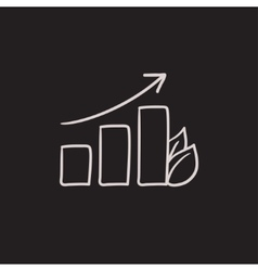 Bar graph with leaf sketch icon vector image
