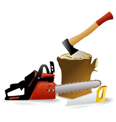 Set of woodcutter tools vector