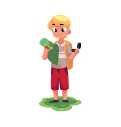 Teenage caucasian boy with a backpack studying map vector