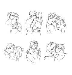 Gentle young couple in love hand drawn set vector