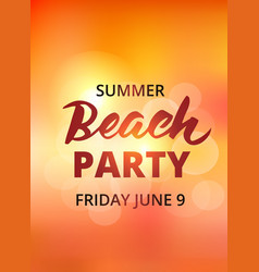 Beach party typography with hand drawn brush vector