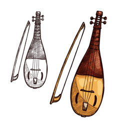 Sketch gusli harp string music instrument vector