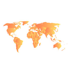Orange political map of world each state with own vector