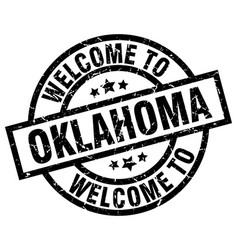 Welcome to oklahoma black stamp vector