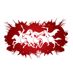 3 spartan warriors riding horses with weapon sword vector image vector image