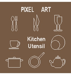 Pixel art outline kitchen utensil icons vector