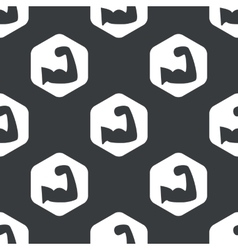 Black hexagon muscular arm pattern vector
