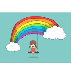 Cartoon girl swinging on a rainbow drawing by hand vector