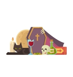 Halloween with coffin and other vector