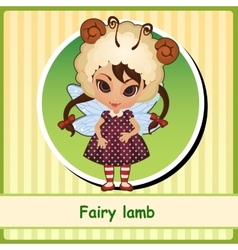 Fairy lamb - cute girl in brown dress vector