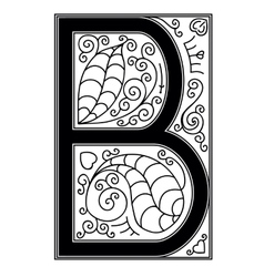 B letter with floral ornament vector