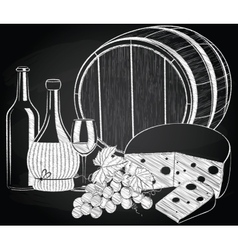 Wine grape and cheese on the chalkboard vector
