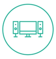 Home cinema system line icon vector