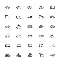 Vehicles line icons 3 vector