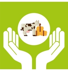 Farm countryside hand holding design vector