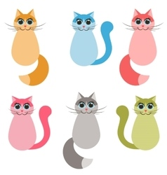 Funny colorful cats set vector