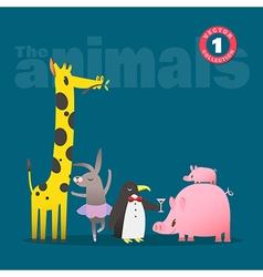 animals cartoon pig piglet giraffe rabbit penguin vector image