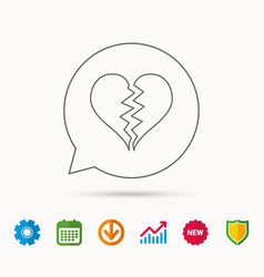 Broken heart icon divorce sign vector