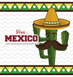 cactus with hat moustache mexican graphic vector image vector image