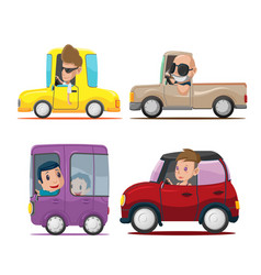 Cars driver cartoon collection set vector