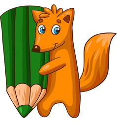 cartoon fox character with big pencil vector image vector image