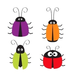 Cute bug set funny cartton character baby design vector