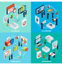 Elections and voting isometric 2x2 design concept vector