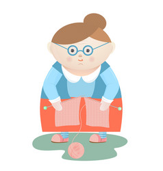 funny grandmother with knitting needles and a ball vector image vector image