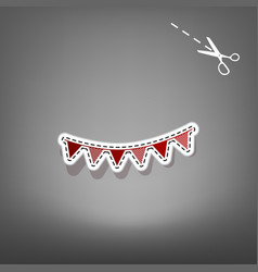 Holiday flags garlands sign red icon with vector