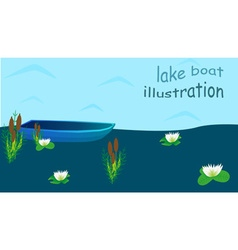 Lake boat plants water cartoon vector