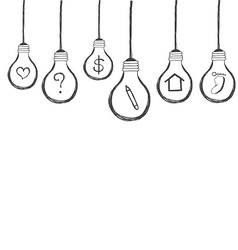 lightbulb with icon inside hand drawn vector image vector image
