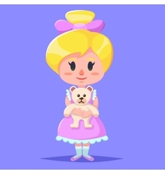 Little cute cartoon girl holding bear stuff vector image