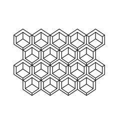 monochrome contour with abstract hexagon pattern vector image vector image